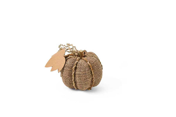 "3.5"" Sm Burlap Pumpkin w/Braided Trim and Leaf"