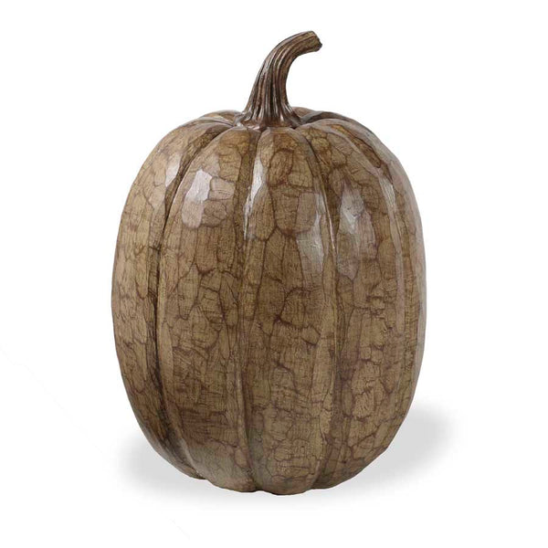"17"" Tall Wood Finish Resin Pumpkin"