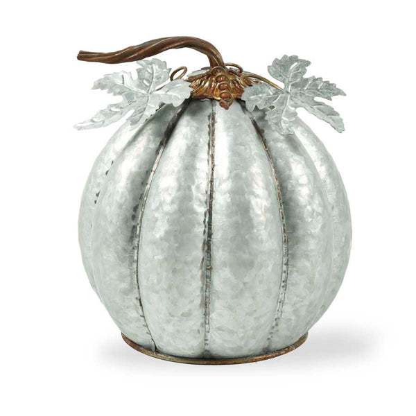 11.5 Inch Metal Pumpkin w/ Leaves