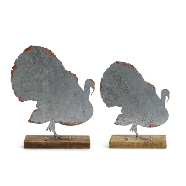 Tin Turkey Cutouts on Wooden Base (Grad. Sizes)