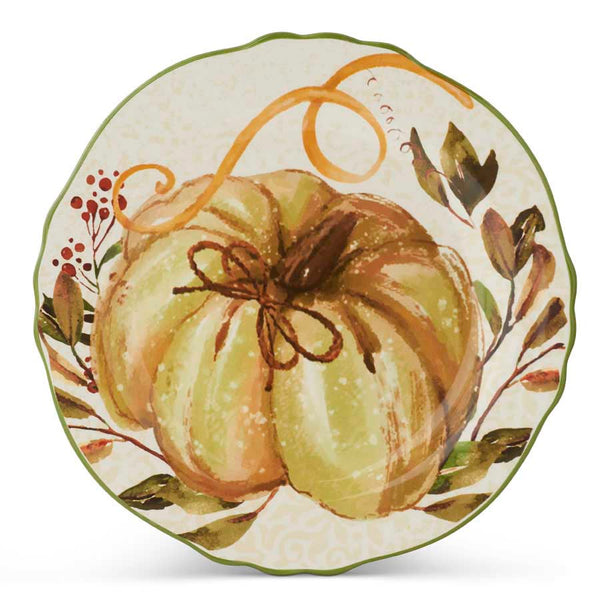 11 Inch Ceramic Scalloped Rim Plate with Pumpkin and Leaf Design