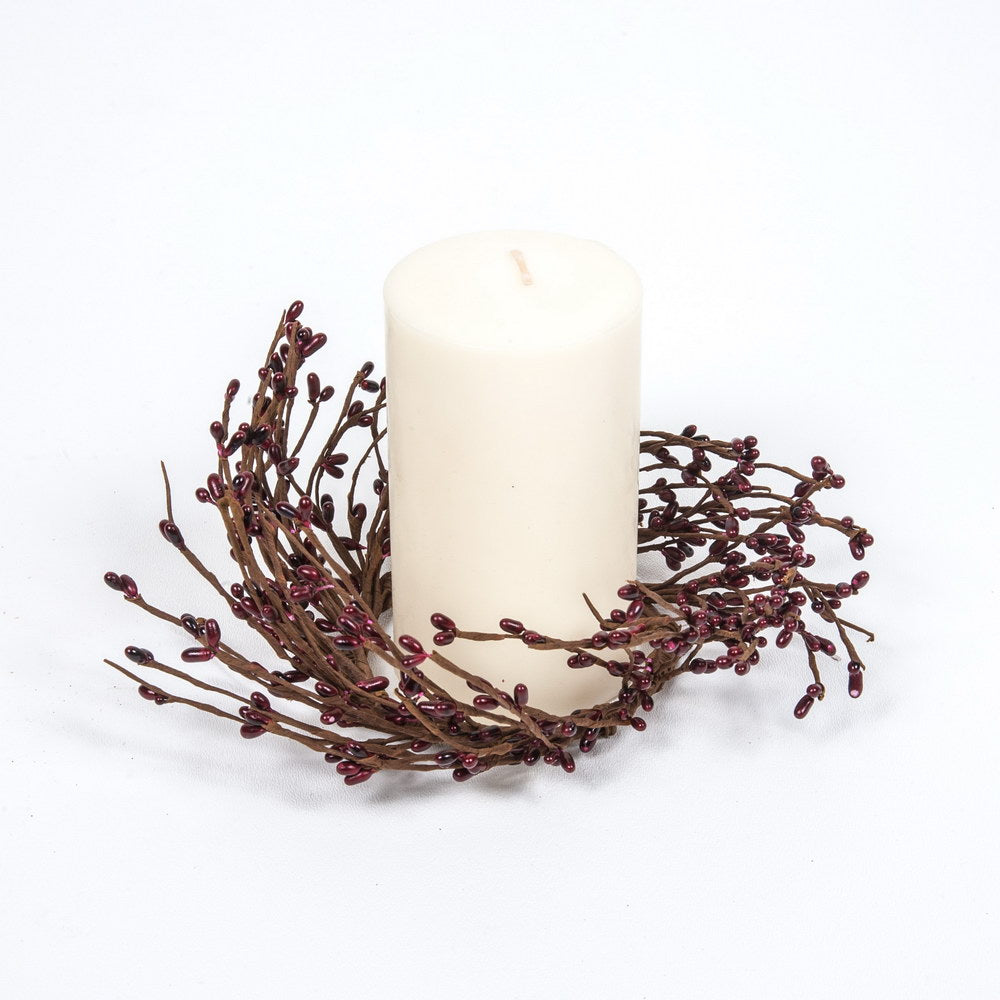3.5 Rice Berry Candle Ring Burgundy