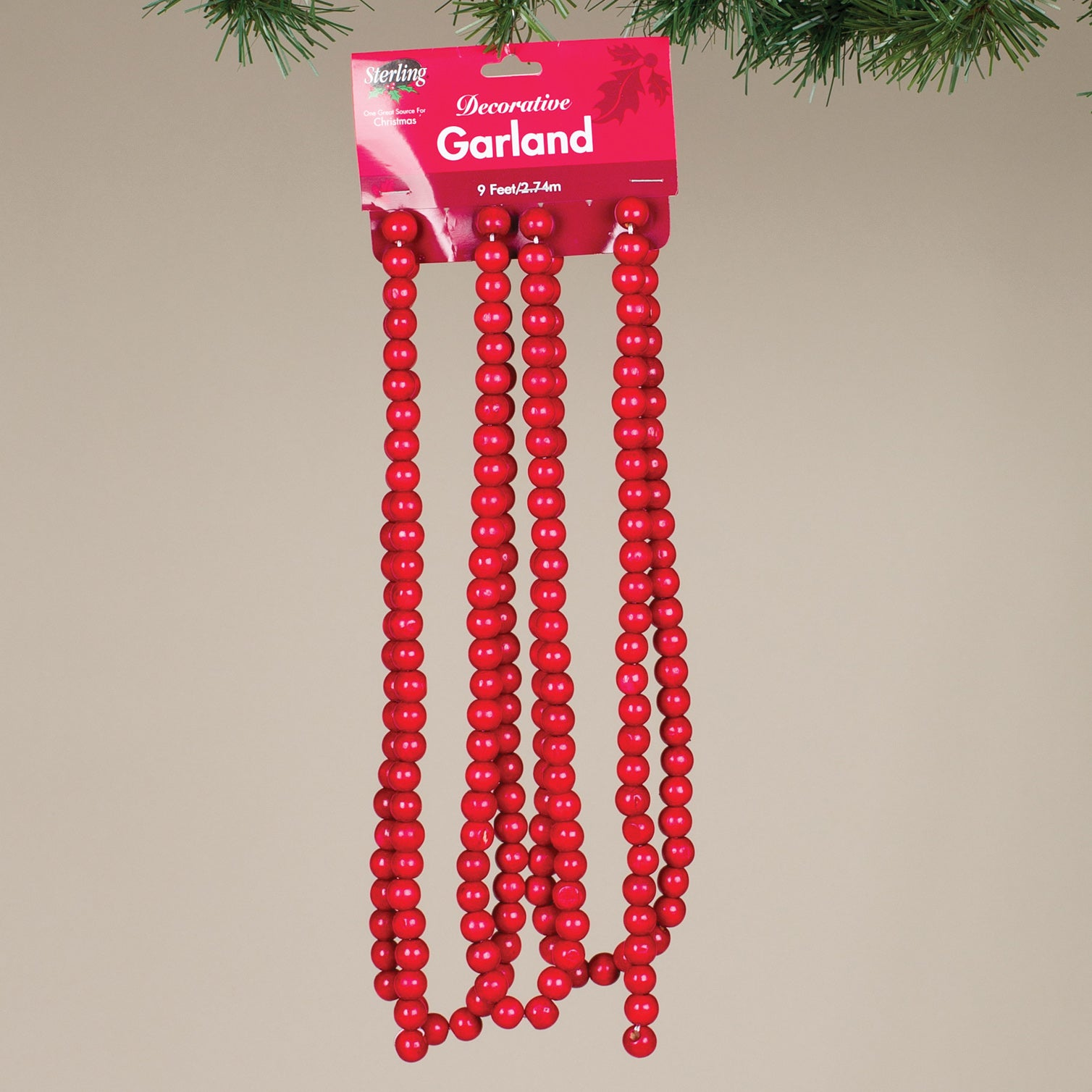 9 L 14mm Red Wood Bead Garland Kc Collections
