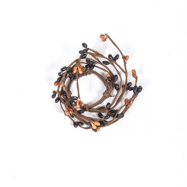 "1.5"" Rice Berry Candle Ring Black, Tan"