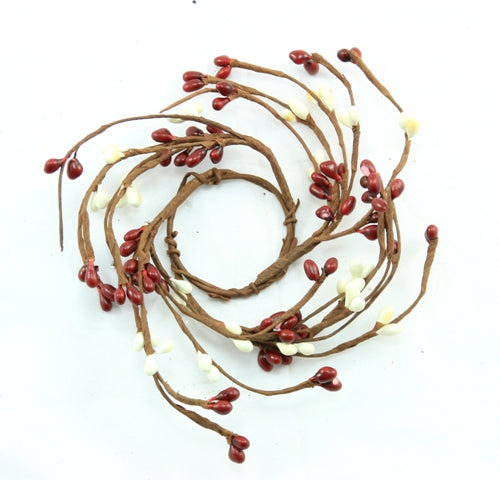 "1.5"" Candle Ring Red, Cream"