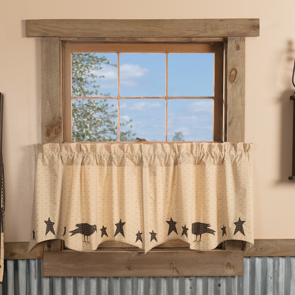 Kettle Grove Applique Crow And Star Tier Curtain Set