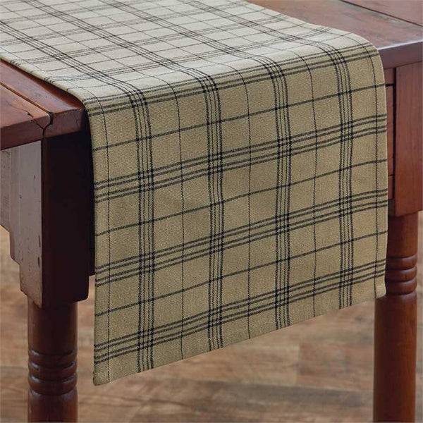 Fieldstone Plaid Table Runner - Black