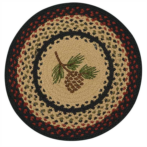 "Pinecone Braided 15"" Round Placemat"