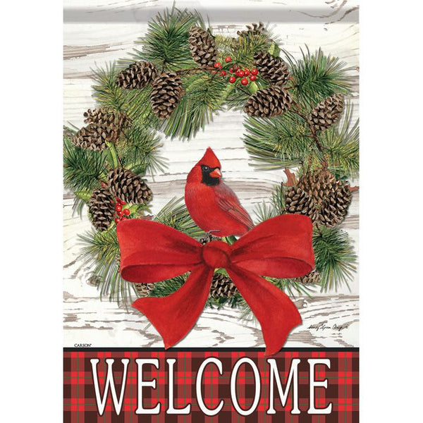 Welcome Cardinal Wreath Garden Flag