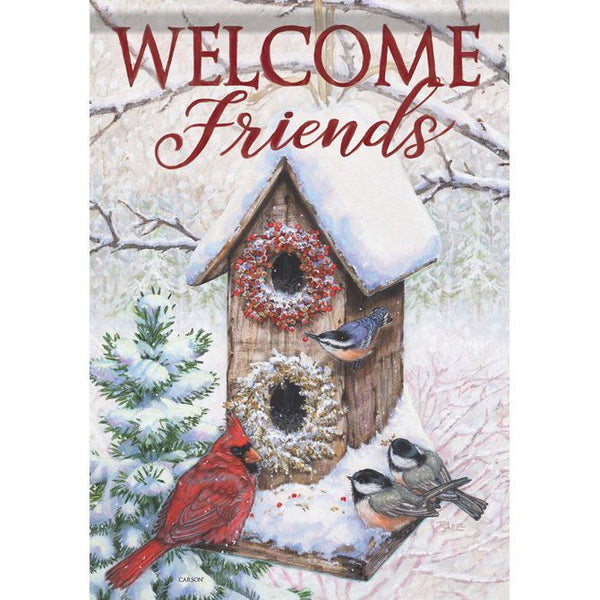Hanging Winter Birdhouse Garden Flag