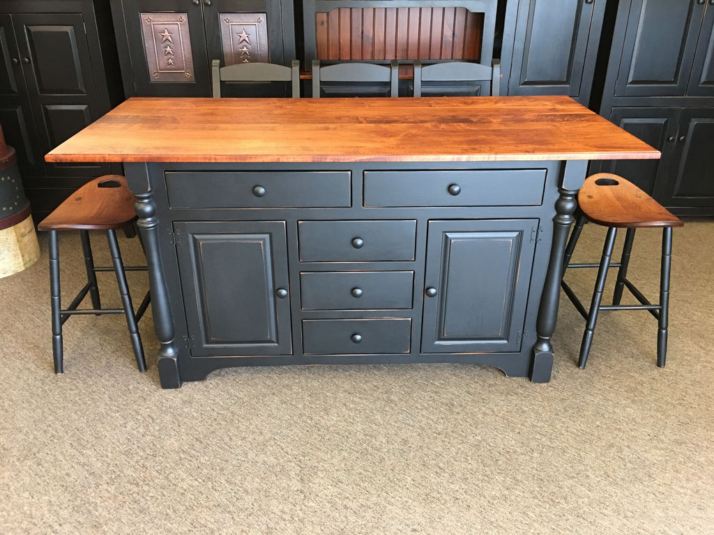 Island with Turned Legs, 5 Drawers & Large Top