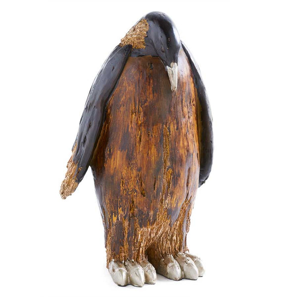 15.75 Inch Brown Resin Penguin with Head Down