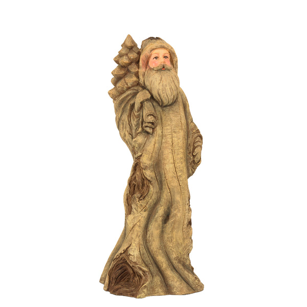 "16"" Light Brown Resin Knotty Santa"