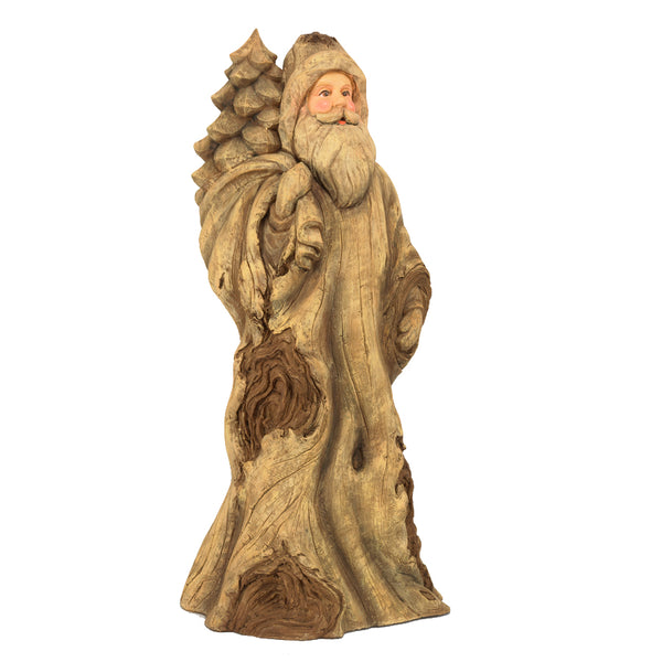 "18"" Light Brown Resin Knotty Santa"