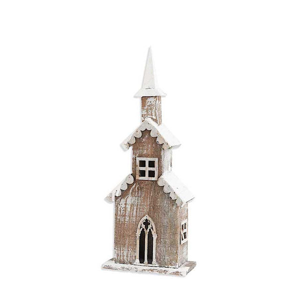 20 Inch Weathered Wood Church