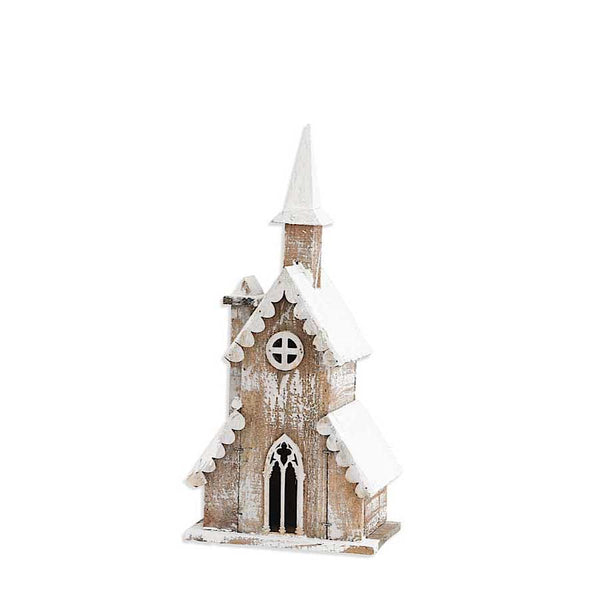 19 Inch Weathered Wood Church