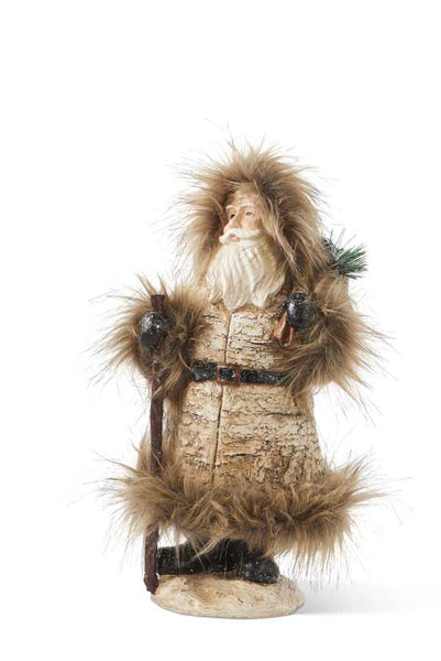 "13"" Resin Santa with Fur Trim Hold"