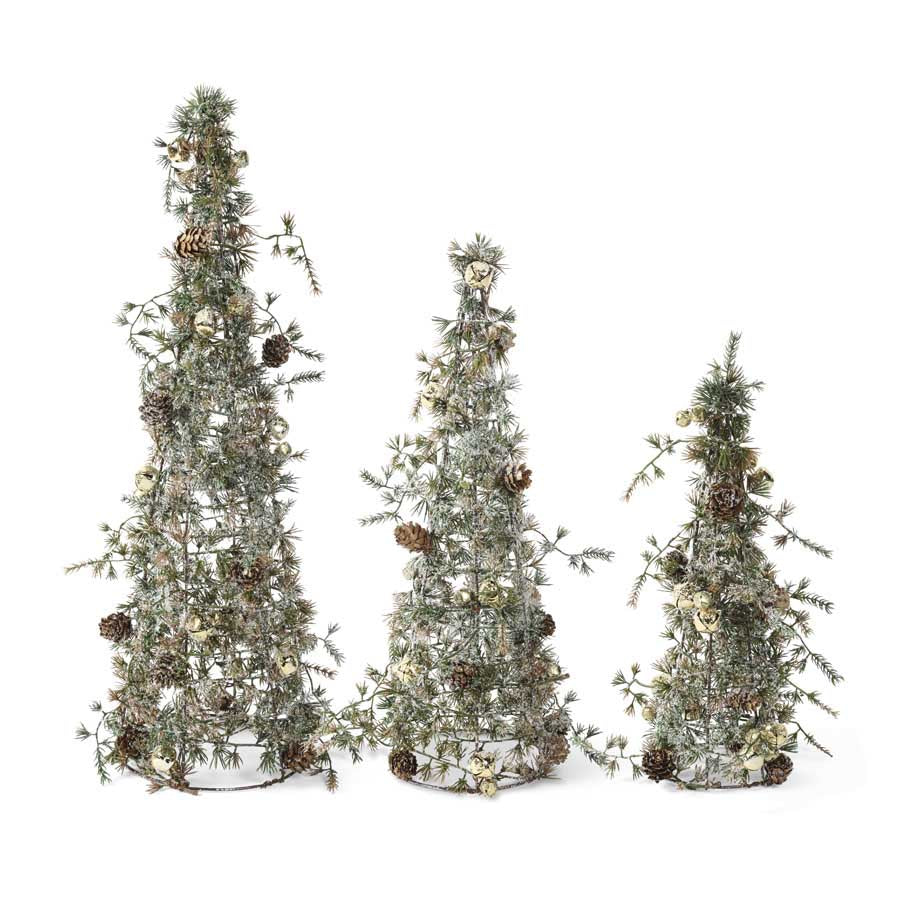 Snowy Pine Cone Trees W Mini Pinecones And Gold Jingle Bells Kc Collections