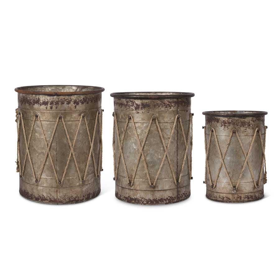 Tin Drum Containers w/Rope Details (Grad Sizes)
