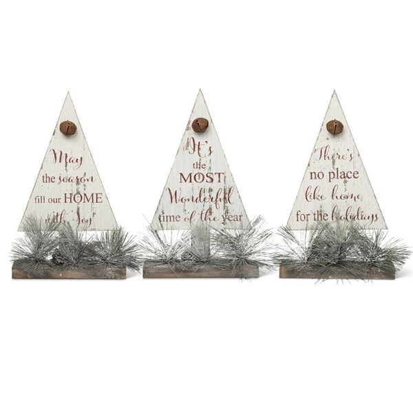 13 Inch Assorted Red and White Christmas Tree Message Tabletops w/Pine-sold separately
