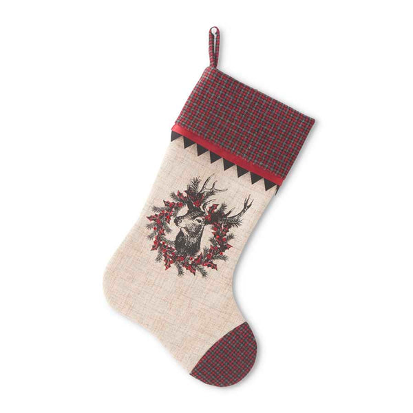 "20"" Linen Stocking with Burgundy"
