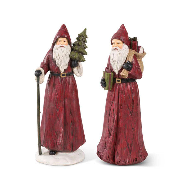 "12"" Assorted Vintage Resin Santa Figurines"