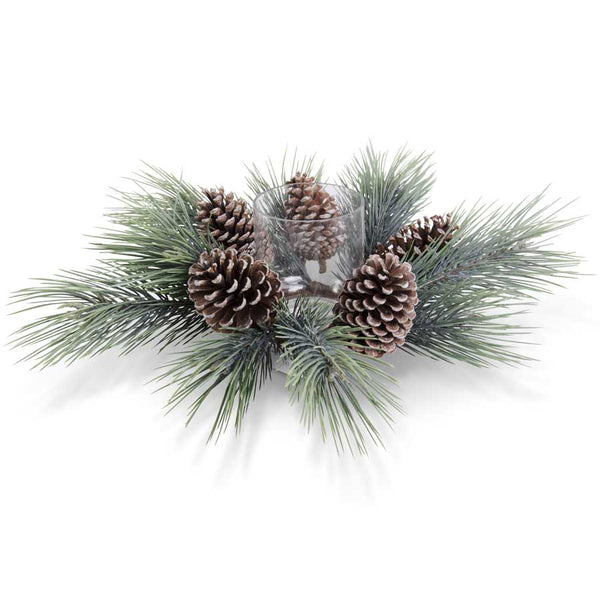 "20"" Seafoam Long Needle Pine Hurricane with Large Pinecones"
