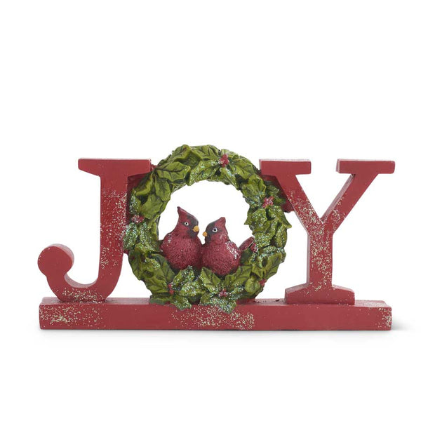 "7.75"" Resin Red Glittered JOY Tabletop Cutout with Cardinals"