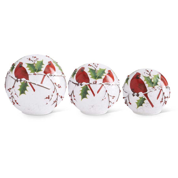 LED Cardinals and Holly Tabletop Globes (Grad Sizes)