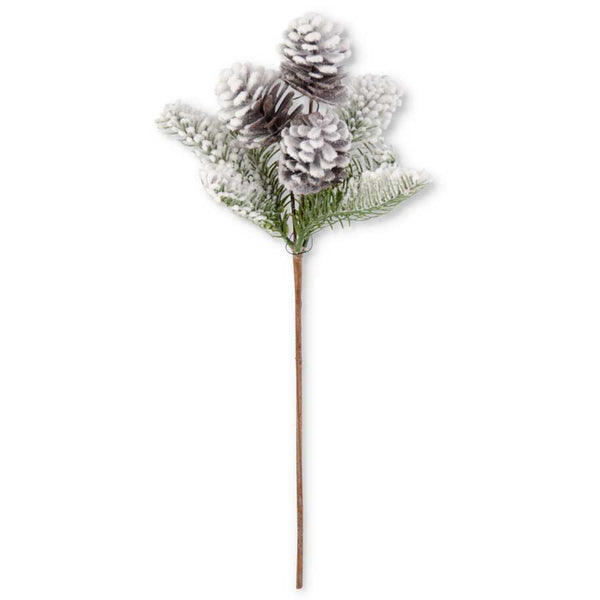 "16"" Flocked Fir and 3 Pinecone Stem"