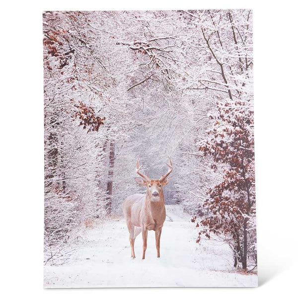 "15.75"" LED Deer In Woods Canvas Print"