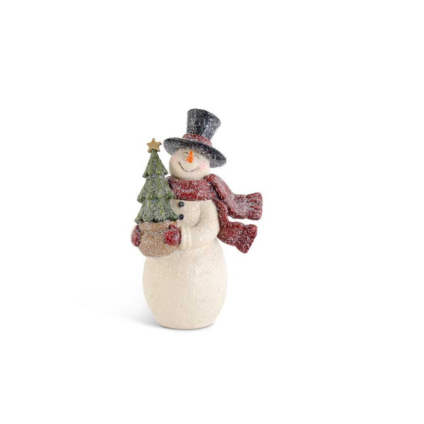 "10.5"" Glittered Resin Vintage Snowman with Christmas Tree"