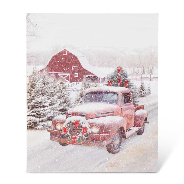 "19.75"" LED Winter Red Truck Canvas Print"
