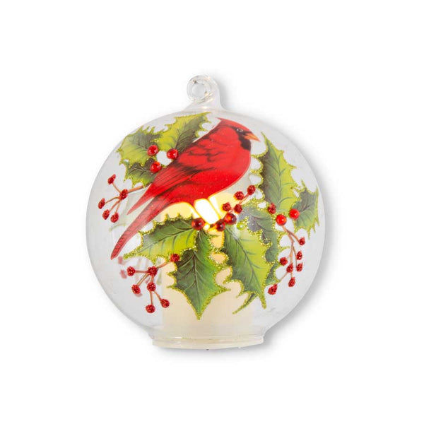"4"" Clear Glass LED Flicker Round Ornament with Cardinal and Holly"