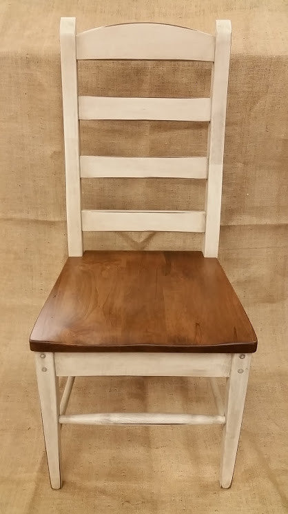 Antique White Ladder Back Chair With A Special Walnut Seat