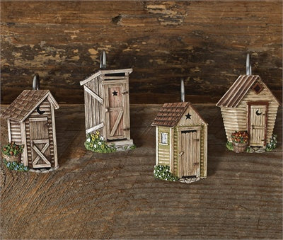 Outhouse Shower Curtain Hooks - Set of 12