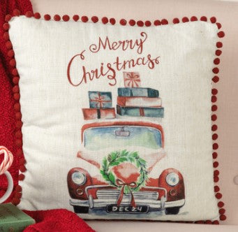 Merry Christmas Truck Pillow