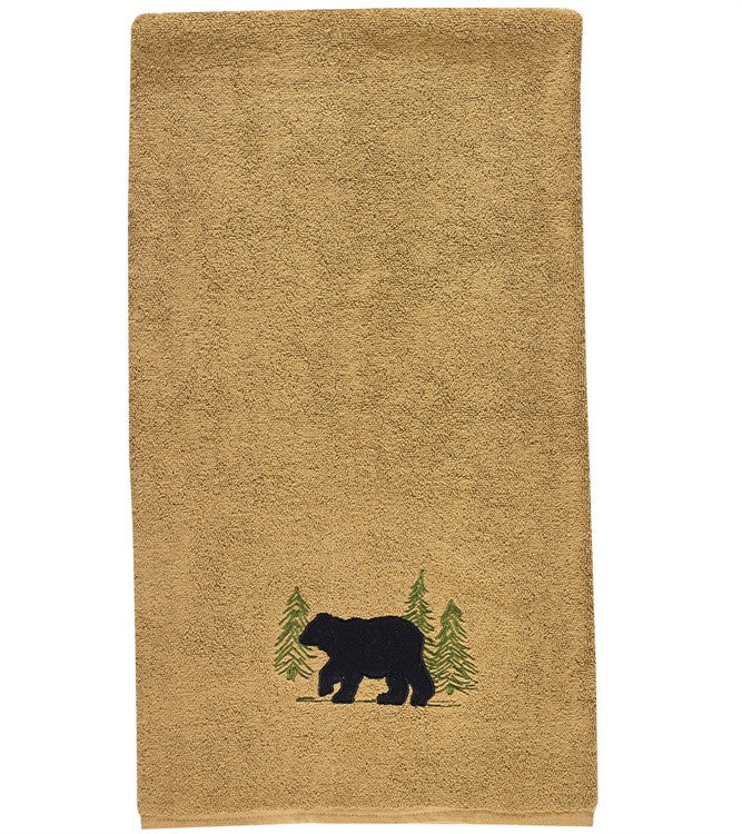 Black Bear Terry Bath Towel