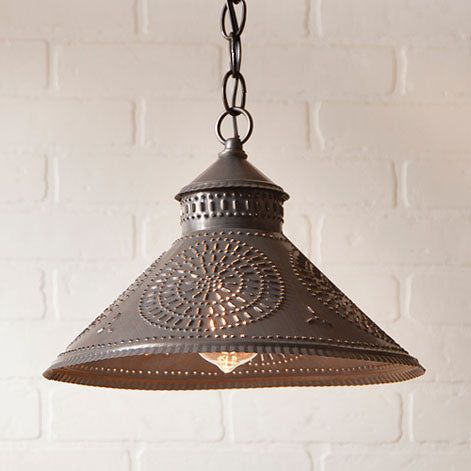 Stockbridge Punched Tin Shade Pendant with Chisel