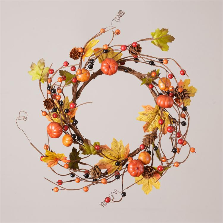 Candle Ring - Pumpkins, Pinecones & Autumn Berries/Twig Base