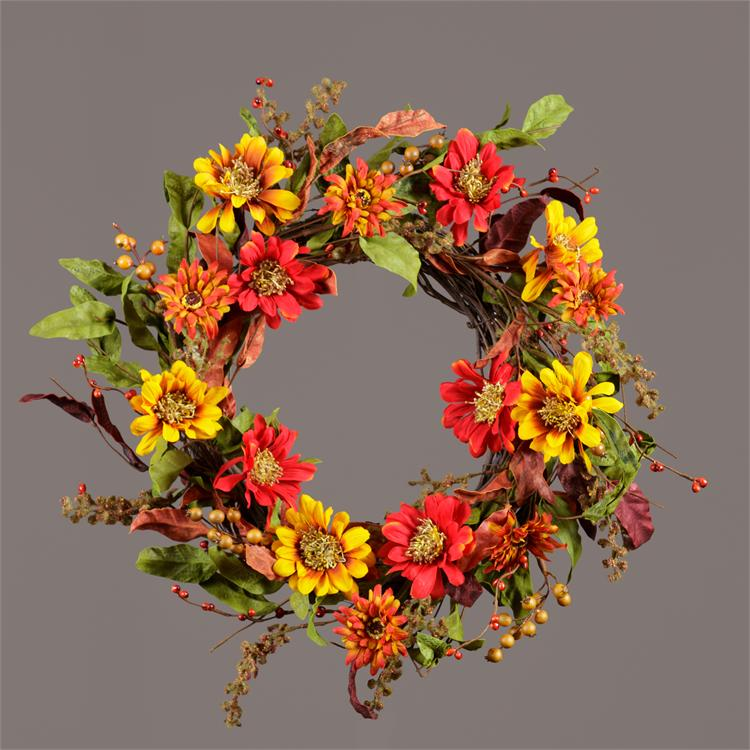 Wreath - Chrysanthemums & Foliage