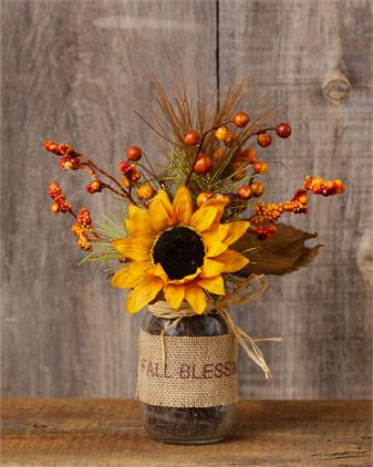 Glass Vase With Berries & Sunflower