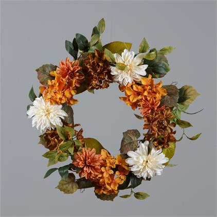 Wreath - Chrysanthemums and Hydrangeas