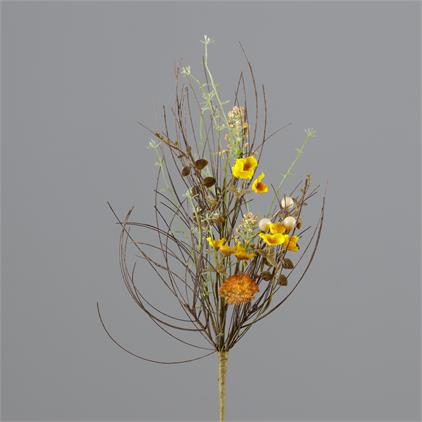 Branch - Thistle, Gold Mini Flowers, Fall Foliage