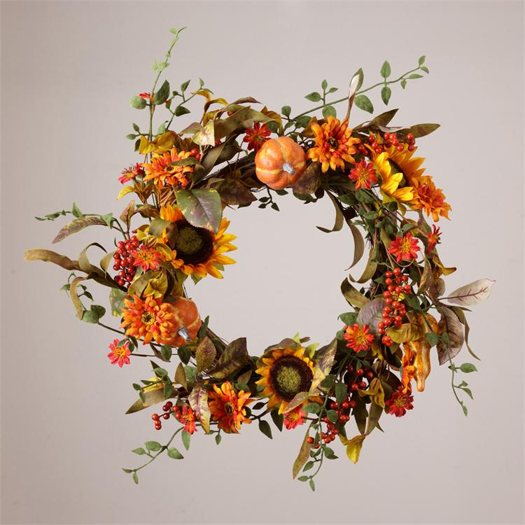 Wreath - Sunflowers, Pumpkins & Gourds