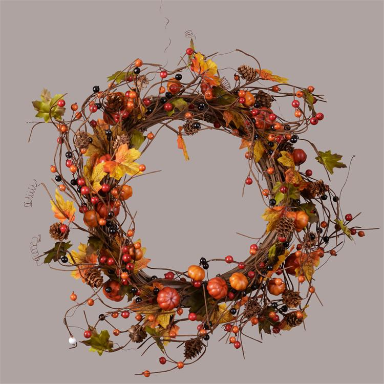 Wreath - Pumpkins, Pinecones & Autumn Berries on a Twig Base
