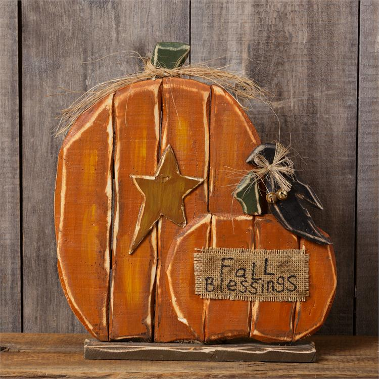 Wooden Pumpkins with Crow - Fall Blessings