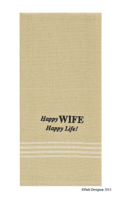 Happy Wife Happy Life Embroidered Dishtowel