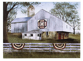 American Star Quilt Block Barn Canvas