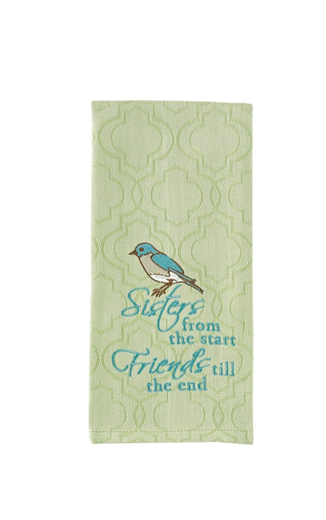 Sisters Friends Embroidered Dishtowel